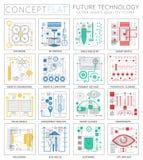 Iconos futuros de la tecnología del mini concepto de Infographics para el web libre illustration