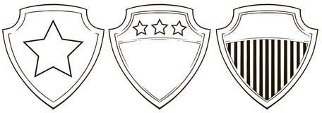 Iconos gráficos del escudo con las barras y estrellas fijadas libre illustration