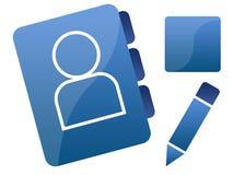 Iconos/gráficos sociales azules del establecimiento de una red Foto de archivo