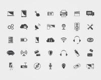 Iconos grandes de la tecnología del negro del vector Imagenes de archivo