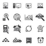 Iconos grandes de los datos, del negocio y de las finanzas fijados Imagen de archivo