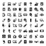 Iconos grandes de los dispositivos electrónicos fijados Imagenes de archivo