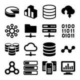 Iconos grandes del Analytics de los datos fijados en el fondo blanco ilustración del vector