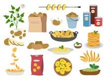 Iconos grandes del sistema de los platos de la patata en el fondo blanco ilustración del vector