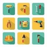 Iconos grandes del vector fijados de las herramientas de la construcción Foto de archivo