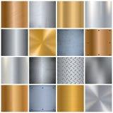 Iconos grandes realistas de la textura del metal fijados Foto de archivo libre de regalías