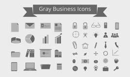 Iconos grises del negocio Foto de archivo libre de regalías