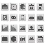 Iconos grises del negocio en cuadrados grises Fotos de archivo libres de regalías