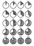 iconos Hadn-dibujados del gráfico de sectores de la pluma de feltip del vector fijados Fotografía de archivo libre de regalías