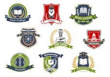 Iconos heráldicos retros de la escuela de la universidad y de la universidad stock de ilustración