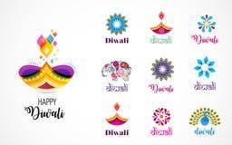 Iconos hindúes felices del festival de Diwali, elementos, sistema del logotipo Ejemplo ardiente del diya, festival ligero de la I libre illustration