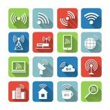 Iconos inalámbricos de la red de comunicaciones fijados Fotos de archivo libres de regalías