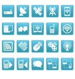 Iconos inalámbricos en cuadrados azules Imagen de archivo