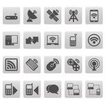 Iconos inalámbricos en cuadrados grises Imagen de archivo libre de regalías