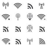 Iconos inalámbricos fijados Imagenes de archivo