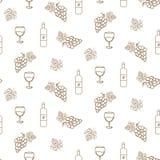 Iconos inconsútiles del modelo del vector de la uva y del vino en el estilo linear para el diseño de la etiqueta del lagar ilustración del vector