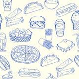 Iconos inconsútiles drenados mano de los alimentos de preparación rápida Foto de archivo
