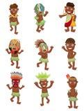 Iconos indígenas de África de la historieta ilustración del vector