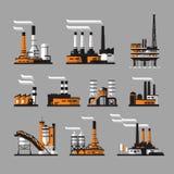 Iconos industriales de la fábrica en fondo gris Imágenes de archivo libres de regalías