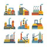 Iconos industriales de los edificios de la fábrica fijados en plano Imagenes de archivo