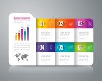 Iconos infographic del diseño y del negocio de la carpeta con 6 opciones ilustración del vector