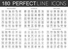 180 iconos infographic del símbolo del mini concepto del esquema del desarrollo web, 3d que modela, videojuegos, tecnología de re ilustración del vector
