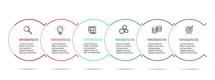 Iconos infographic lineares del vector y del márketing del diseño para el diagrama, el gráfico, la presentación y la carta Concep ilustración del vector