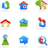 Iconos/insignias de las propiedades inmobiliarias stock de ilustración
