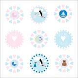 Iconos/insignias del bebé ilustración del vector