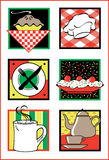 Iconos/insignias del servicio de alimento libre illustration