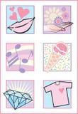 Iconos/insignias femeninos frescos Fotos de archivo libres de regalías