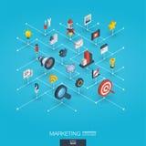 Iconos integrados de comercialización del web 3d Concepto isométrico de la red de Digitaces Imagen de archivo libre de regalías