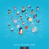 Iconos integrados del web 3d de la sociedad Concepto isométrico de la red de Digitaces Fotografía de archivo