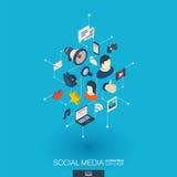 Iconos integrados del web 3d de los medios sociales Concepto isométrico de la red de Digitaces Puntos y línea conectados sistema  Imagenes de archivo
