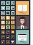 30 iconos interesantes del negocio en el estilo del plano Imágenes de archivo libres de regalías