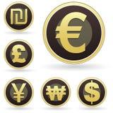 Iconos internacionales del dinero en circulación en los botones del vector del orbe Imagen de archivo