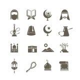 Iconos islámicos musulmanes del vector de la religión de Oriente Medio Pictogramas del kareem del Ramadán
