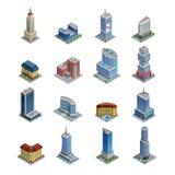 Iconos isométricos constructivos fijados stock de ilustración