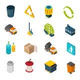 Iconos isométricos de la basura Imagenes de archivo