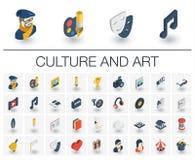 Iconos isométricos de la cultura y del arte vector 3d libre illustration