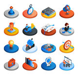 Iconos isométricos de la estrategia empresarial Imagen de archivo libre de regalías