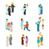 Iconos isométricos de la gente de la relación 3d y de la boda libre illustration