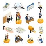 Iconos isométricos de la Seguridad Social stock de ilustración