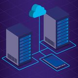 Iconos isométricos de la tecnología del centro de datos Fotos de archivo