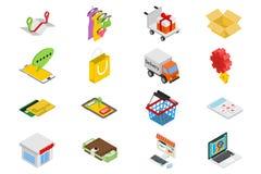 Iconos isométricos de la venta fijados Foto de archivo libre de regalías