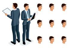 Iconos isométricos de la vista delantera de las emociones, del cuerpo 3D y la vista posterior de la mujer, cara, ojos, labios, na ilustración del vector