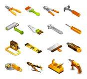 Iconos isométricos de las herramientas Imagen de archivo libre de regalías
