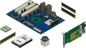 Iconos isométricos de las piezas del ordenador fijados ilustración del vector