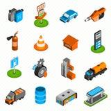 Iconos isométricos de los elementos de la gasolinera Imagen de archivo
