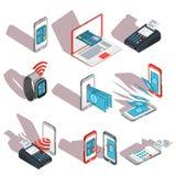Iconos isométricos de los teléfonos móviles, ordenador portátil, relojes que muestran la facilidad y la conveniencia de pagos en  ilustración del vector